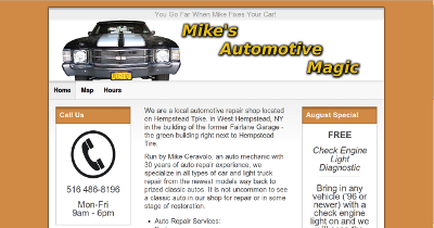 Screenshot of Mike's Automotive Magic Web Site