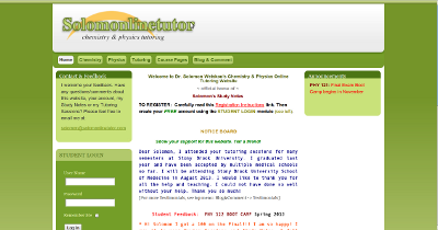 Screenshot of revised website for Solomonlinetutor
