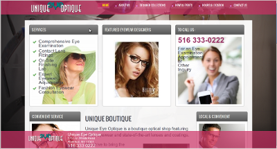Screenshot of Unique Eye Optique website