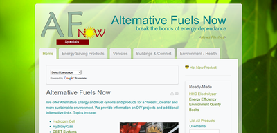 Screenshot of Alternative Fuels Now web site