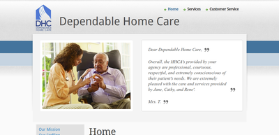 Screen shot of Dependable Home Care web site home page