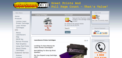 Screenshot of Lasersavers laser cartridge web site