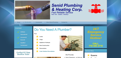 Screenshot of Senid Plumbing and Heating web site
